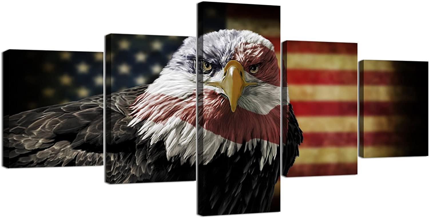 5 Pieces Retro Eagle US American Flag Canvas Painting USA Eagle Flag Wall Art Modern Military Posters Pictures Prints Framed Artwork Home Decorations for Living Room Office Bedroom (50''Wx24''H)