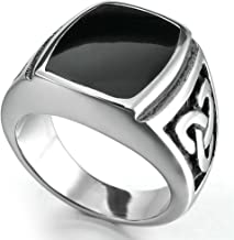 Bishilin Men Vintage Stainless Steel Silver Celtic Triquetra Knot Signet Enamel Rings Size 14