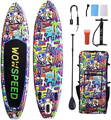 Tabla de Remo Inflable, 320 x 83 x 15 Cm, 8,7 Kg Sup Paddle Tabla Surf, Paddle Surf Kayak Accesorios Completos Paleta Ajustable, Bomba, Mochila de Viaje, Correa, Bolsa Seca (Bunt-2)