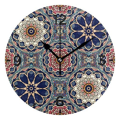 SENNSEE Wanduhr, Vintage-Blumen-Design, batteriebetrieben, dekorative Wohnzimmer, Küche, Schlafzimmer, runde Uhr für Heimdekoration, Kunst
