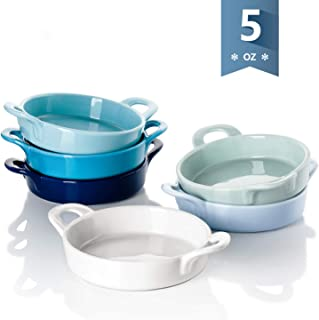 Sweese 507.003 Porcelain Ramekins, 5 Ounce Ramekins for Baking, Round Creme Brulee Dish with Double Handle - Set of 6, Cool Assorted Color