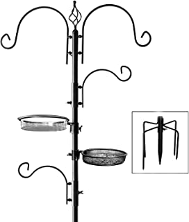 Best Deluxe Bird Feeding Station : Bird Feeders for Outside - Hang Multiple Feeders From the 4 Hangers, Bird Bath, Mesh Tray and 3 Prong Base to Bring Birds To Your Yard - 22 Inch Wide x 7 feet 8 inch Tall Review