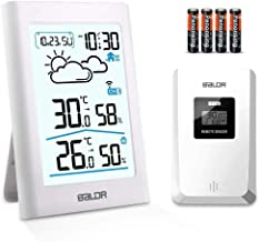 Wireless Weather Station, Indoor Outdoor Thermometer, Temperature and Humidity Monitor Temperature and Humidity Sensor Weather Forecast Station Barometers for Home Indoor and Outdoor