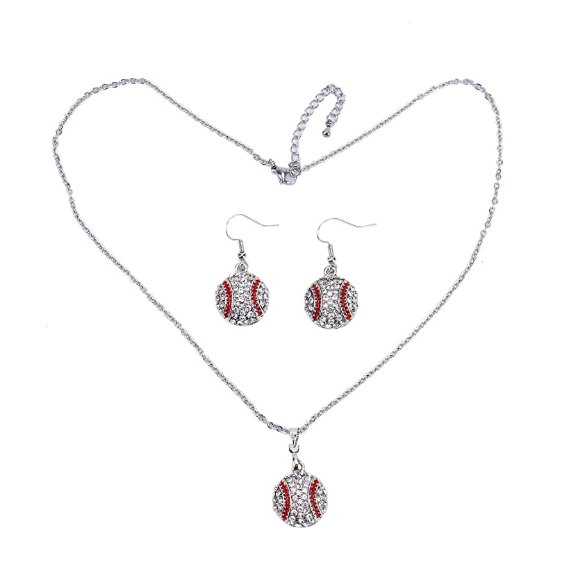 Monrocco Fashionable Baseball Necklace and Earrings Set, Ball Sport Alloy Crystal Jewelry for Baseball Fans Player Gifts