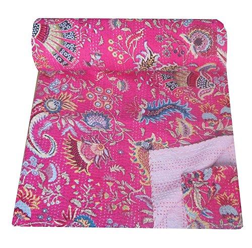 Sophia Art Twin Mukut Impression Unique Kantha, Kantha Couverture, Housse de Matelas, Double Kantha Couvre-lit, Bohemian Parure de lit de Taille 152,4 x 228,6 cm (Rose)