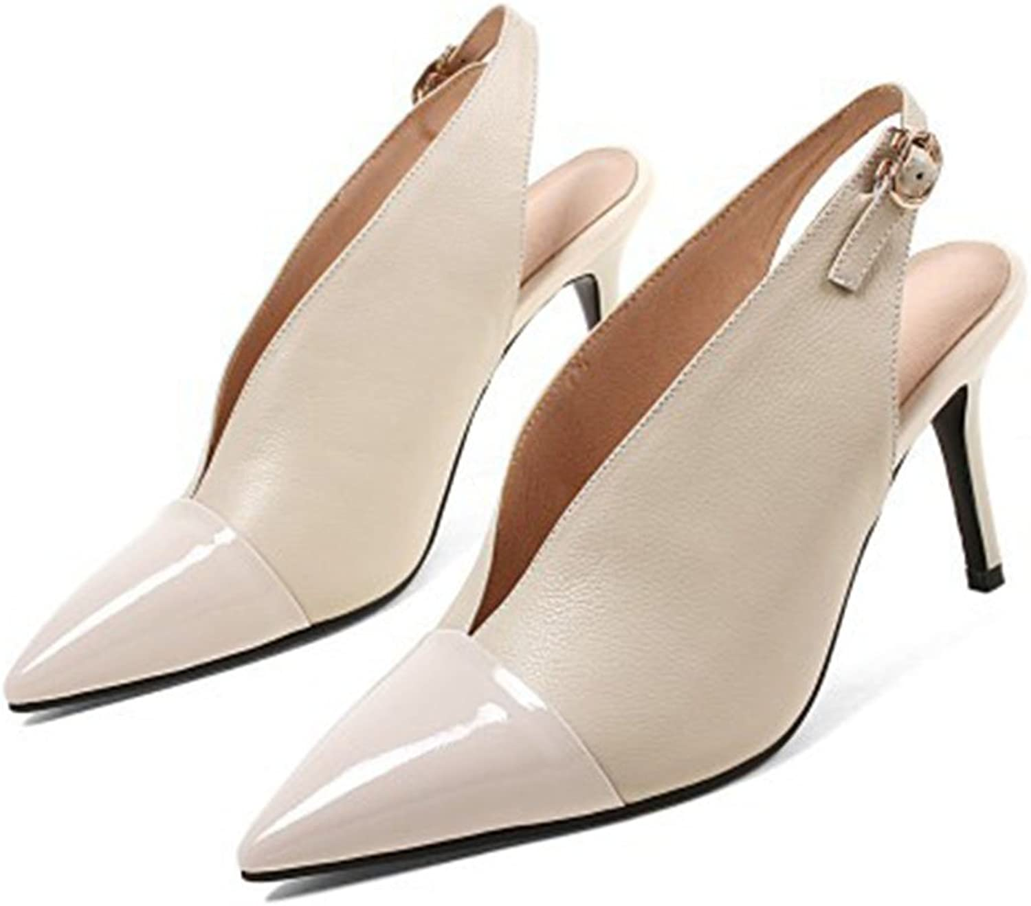 LZWSMGS Ms. Women Pointed Out Leather Business shoes with High Heels High Heel Sandals Fashion Court shoes Work Casual Party Party Ladies Sandals (color   Beige, Size   5.5 US)