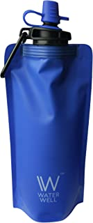 WaterWell Foldable Squeeze Travel Water Bottle- Purifies Water by Eliminating 99.9% of Waterborne Bacteria & Parasites. Ultra Filtration Straw Filters 1000 Litres of fresh water. Hollow Fibre Membrane