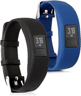 kwmobile Pulsera Compatible con Garmin Vivofit 4-2X Correa de TPU para Reloj Inteligente - Negro/Azul Oscuro