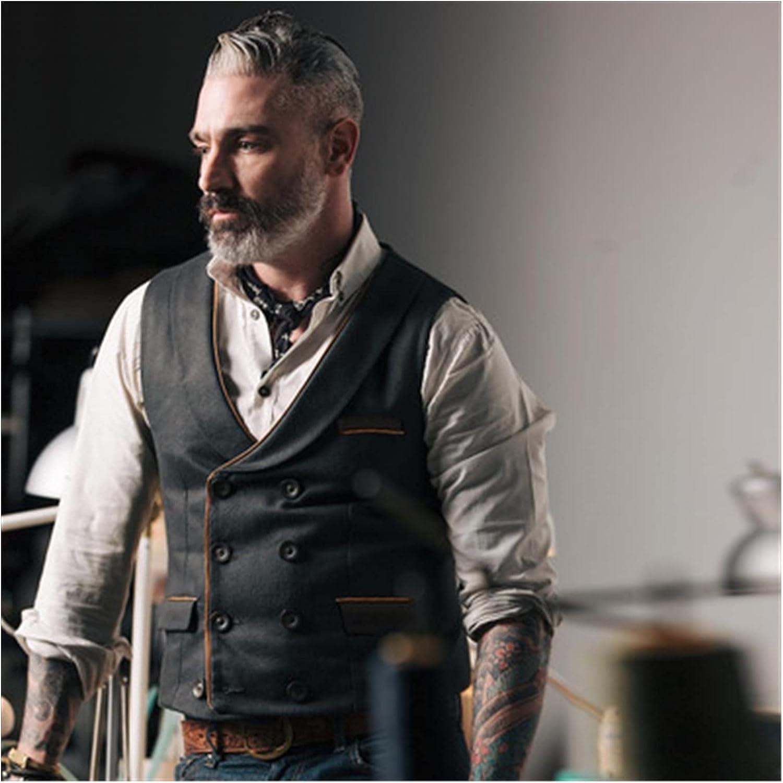 Men's Solid Color Lapel Double Button Vest Men's Suit Vest (Color : Black, Size : XXL.)