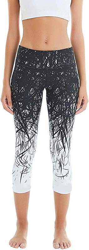Women S Skinny Leggings Ladies Running Workout Hip High Waist Printing Yoga Pant Cropped Trousers