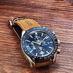 BENYAR Waterproof Chronograph Men Watches Fashion Casual Leather Band Strap Wrist Watch (Brown Blue) #4