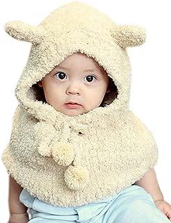 Super Cute Winter Plush Wool Bear Hats Girls Baby Shawls Hooded Cowl Beanie Caps