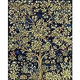 Árbol por número de estaciones de pintura con pintura acrílica sobre lienzo con kit de bricolaje para adultos para colorear por número de decoración Art W9 60x75cm