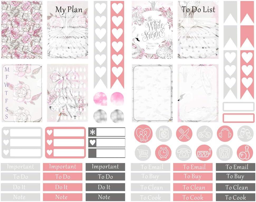 Seasonstorm White Swan Ballet Pattern Kawaii Aesthetic Pastel Art Agenda Journal Planner Stationery Stickers