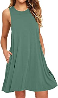 Sumeimiya Lace Dress for Women, Ladies Solid Sleeveless O Neck Dress Casual Loose Dress with Pocket