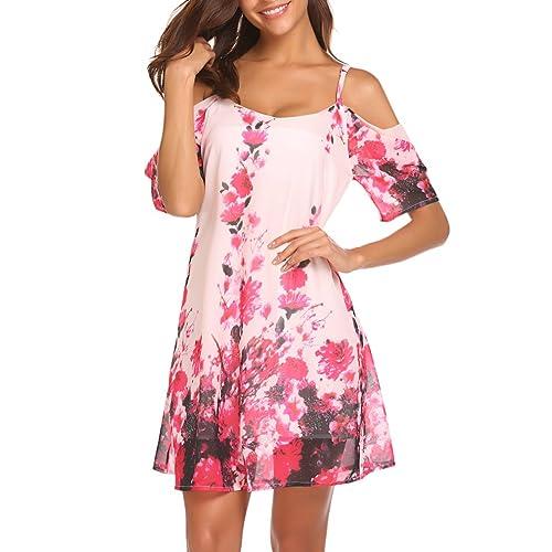 658d3ff29a Naggoo Women's Summer Chiffon Floral Printed Cold Shoulder Loose Short Dress
