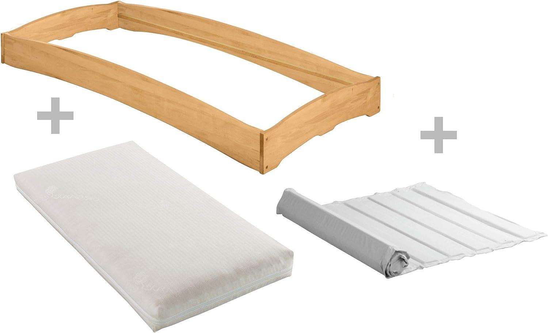 BioKinder Komplett-Set Leandro Stapelbett Stapelliege Gstebett mit Lattenrost und Matratze aus Massivholz Erle 90 x 200 cm