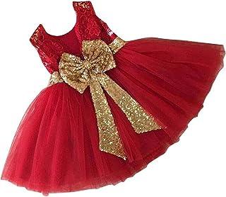 Vestido de Las Muchachas de la Flor del Banquete de Boda Cumpleaños Lentejuelas Bowknot Princesa sin Mangas Floral Vestido Formal para bebés Niños pequeños 0-5 años
