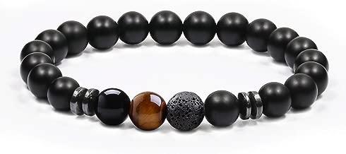 J.Fée Bracelet Perles Bracelet 8mm Semi Précieux Bracelet Guérison Gemstone Bracelet Hommes Bracelet Fête des Pères Cadeau d'anniversaire Unisexe