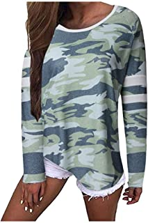 iLOOSKR Plus Size Shirt Womens Camouflage Print Loose Long Sleeve Jumper Tops Casual Tee Shirt