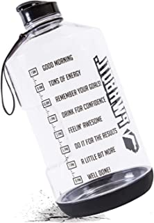 PWRBOTL 1 Gallon Water Bottle with Motivational Time Marker - Anti Skid & Drop Resistant -Leakproof 128 oz BPA Free Water Bottle/Water Jug- This Extra Large Water Bottle Helps You to Drink More Water!