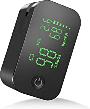 JUMPER Fingertip Pulse Oximeter with Perfusion Index, Pulse Rate,Blood Oxygen Saturation Monitor 500G-NM (Black)