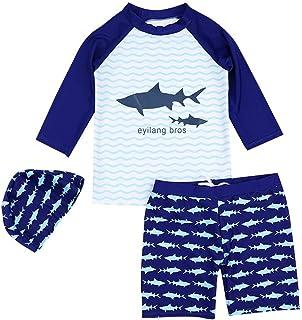 水着 子供 男の子 上下 3点セット 日焼け止め UVカット セット 可愛い ボーイズ水着 ボーイロングスリーブスプリット服 キャップ付き ブルー
