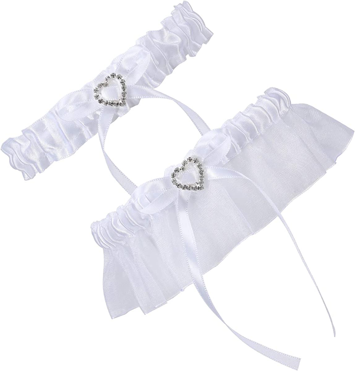 Cosweet 2 Pcs Lace Wedding Bridal Garter Set- Stretchy Bridal Garters with Rhinestone Satin Bow for Bride Accessories Dress