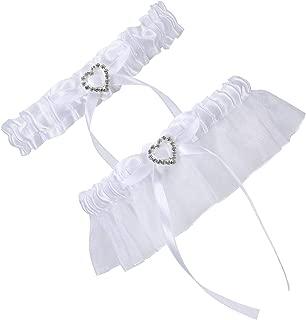 2 Pcs Lace Wedding Bridal Garter Set- Stretchy Bridal Garters with Rhinestone Satin Bow for Bride Accessories Dress