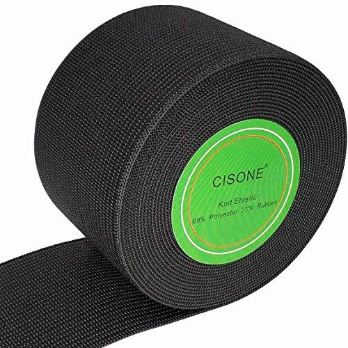 Knit Elastic 2 Inch Wide Black Heavy Stretch High Elasticity Knit Elastic Band 5 Yards