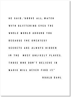 A4 Roald Dahl Quote Print Unframed The Minpins Wall Art Minimalist