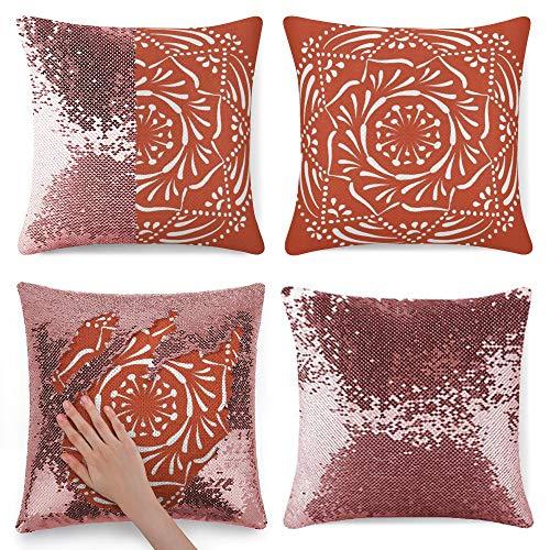 Tamengi Sequin Pillow Cover, Terracotta Mandala Round, Zipper Pillowslip Pillowcase, Decorations for Sofas, Armchairs, Beds, Floors, Cars
