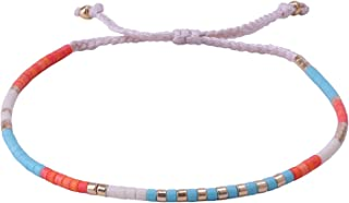 KELITCH Mixed Shell Seed Beaded Strand Bracelet Woven Braided Bracelets Friendship Jewelry Bangles