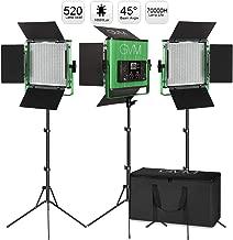 GVM 520LS Video Lighting Kits, 3 Pack 520 CRI/TLCI 97+ High Brightness Video Lighting..