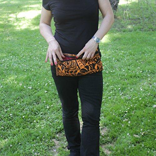 Riñonera Polinesia - Negra y Naranja - Bolso cinturón hecho a mano en lona y algodón, cerrado con cremallera
