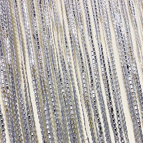 CHICTIE Fadenvorhang mit Fransen, Raumteiler, Rollo, 99 x 200 cm, Quaste, Fensterpaneele, dekoratives Glitzer, Silberband, für Hochzeit, Party, Event (Silbergrau, 1 Stück)