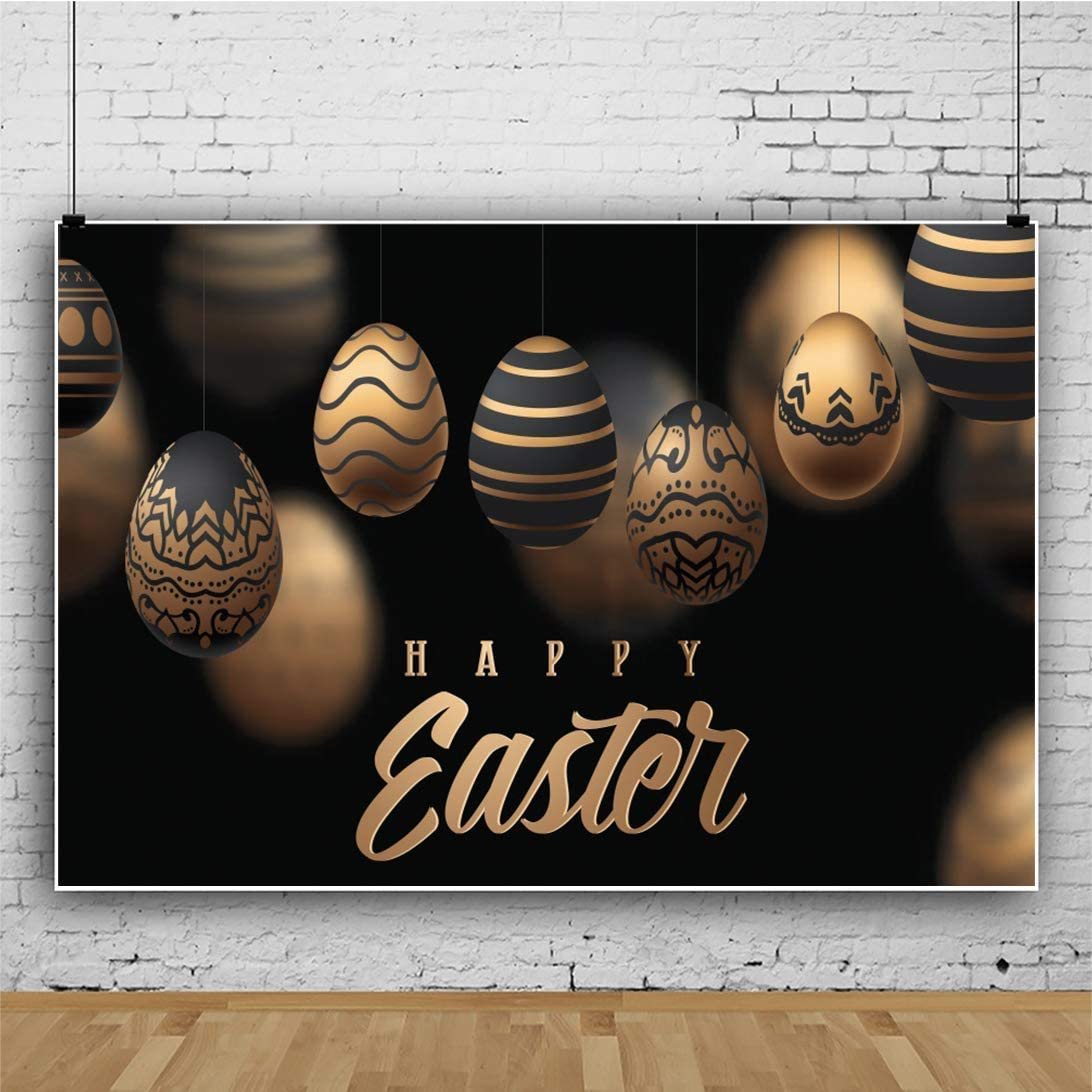 12x8FT Golden Happy Easter Backdrop Golden and Black Eggs Defocus Backdrops for Photography Baby Newborn Children Easter Party Decorations Vinyl Studio Props