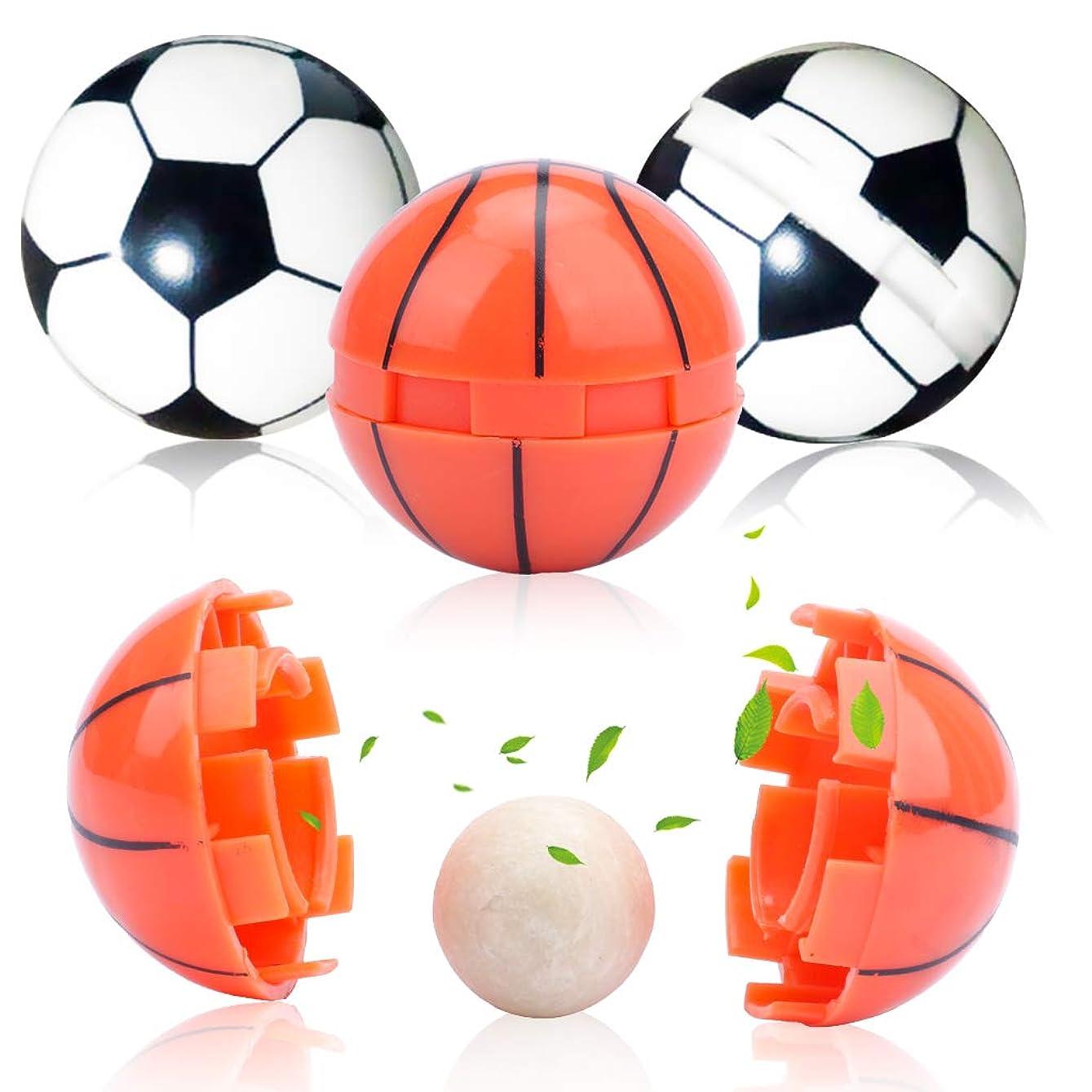 大腿フィラデルフィア感覚Amycute アロマ アロマボール 香り玉 4点セット (18mm)750g 丸型 サッカー&バスケットボールデザイン 香りが長続き