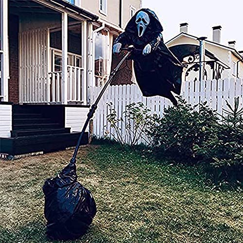 TETEAI Ghostface Vogelscheuche, Maske aus der Schreidekoration, gruseliger Feldköder, Halloween Gartendekoration im Freien