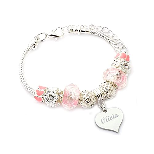 Personalised ANY NAME Girls Pink Butterfly charm Bracelet Comes Gift Boxed.