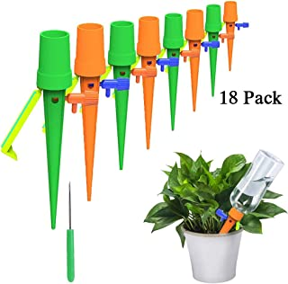 GOTONE 18 Pack Plant Self Watering Spikes, Adjustable Automatic Watering Devices with Release Control Valve Switch Fit Mos...