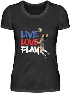 Camiseta para mujer con diseño de voleibol y frase divertida.