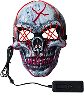 Hamkaw LED Light Up Halloween Mask Glowing Scary Skull Mask EL Wire Clown Mask for Halloween Cosplay Costume Festival Parties