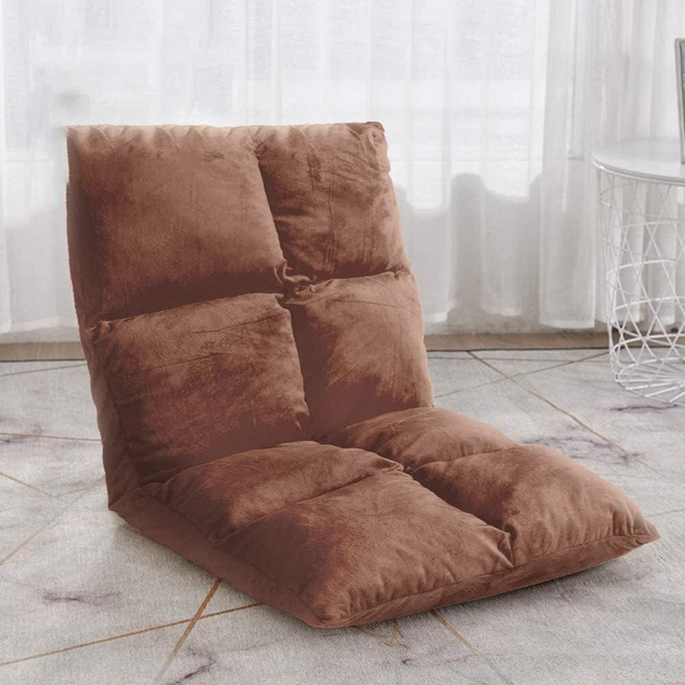 chaise FHW Étage Pliante Individuel Sol 5 Vitesses réglablee Coussin Canapé Lazy Amovible et Lavable au Sol avec la méditation Président du Dossier (Color : Dark Gray) Brown