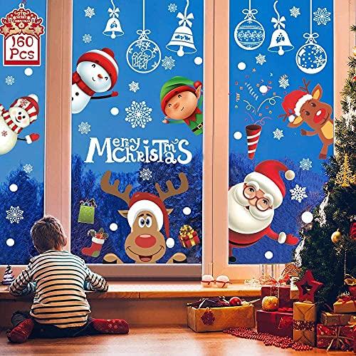 Noël Autocollant Fenêtre ,160 Stickers Fenetre Noël Vitres Decoration De Noël fenetre Arbre Santa Renne Flocons De Neige Autocollants Noël Statique RéUtilisable Autocollant Vitre Noel