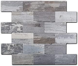 Yipscazo Peel and Stick Tile Backsplash, PVC Light Rustic Backsplash Wood Tile for..