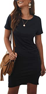 BTFBM Women's 2020 Casual Crew Neck Short Sleeve Ruched Stretchy Bodycon T Shirt Short Mini Dress