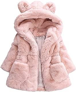 Baby Little Girls Winter Fleece Coat Kids Faux Fur Jacket with Hood Thicken Outwear Warm Overcoat