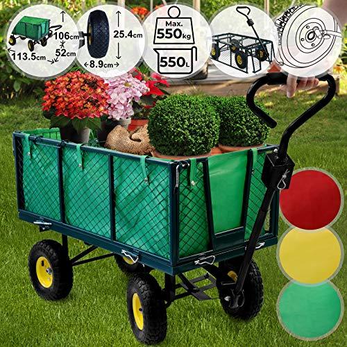 Chariot de Transport - Charge Max. 550kg, avec 4 Roues, Côtés Amovibles, Couleurs au Choix - Charrette de Jardin, Bricolage, Remorque à Main