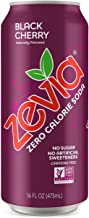 Zevia Black Cherry, Zero Calories or Sugar, Naturally Sweetened, Carbonated Soda, Refreshing, Flavorful, and Tasty, 16 Fl Oz, Pack of 12